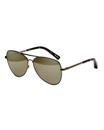 Elizabeth and James Stanton Stainless Steel Aviator Sunglasses