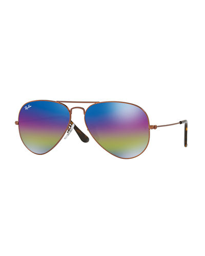 Large Mirrored Iridescent Aviator Sunglasses
