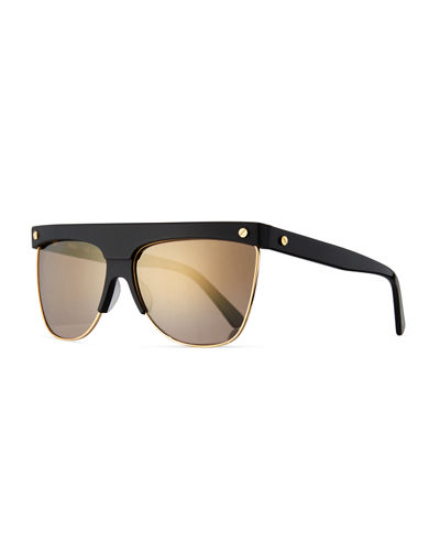 Gradient Oversized Flat-Top Sunglasses