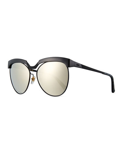 Classic Mirrored Cat-Eye Sunglasses