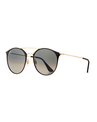 Gradient Round Double-Bridge Sunglasses