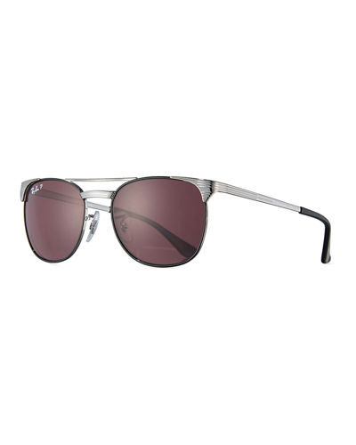 Signet Monochromatic Square Double-Bridge Sunglasses