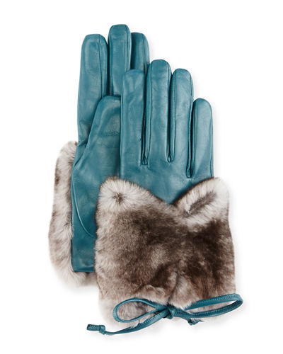 Leather & Rabbit Fur Gloves