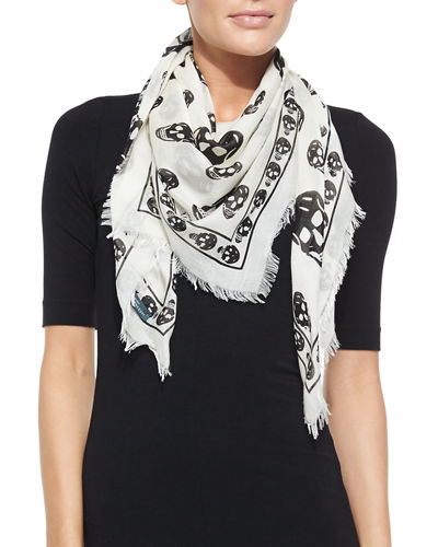 Skull-Print Scalloped Silk Scarf