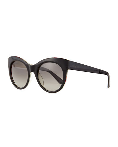Fabric-Embed Butterfly Sunglasses