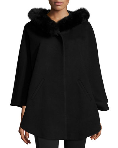 Fur-Trim Hooded Capelet