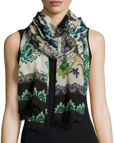 Floral & Paisley Wool Scarf