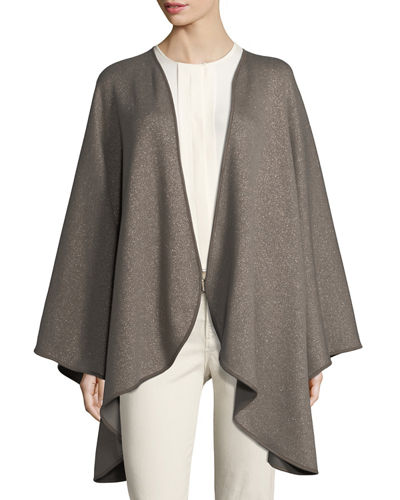 Regina Leather-Trim Cashmere-Blend Cape