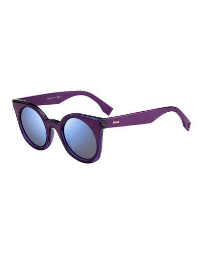 Round Two-Tone Gradient Sunglasses