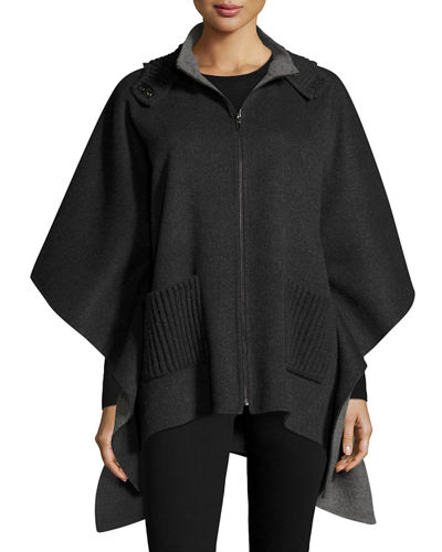 Double-Faced Hooded Cashmere Cape