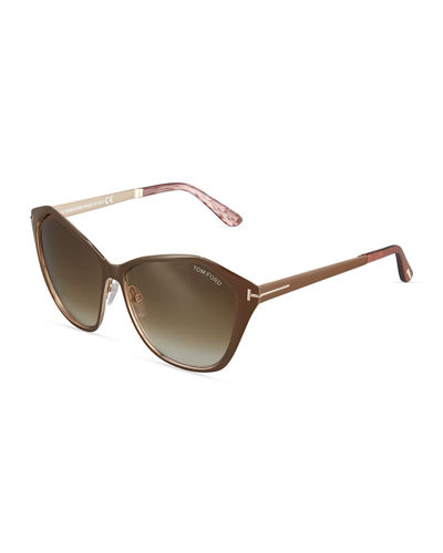 Leana Faceted Cat-Eye Plastic Sunglasses