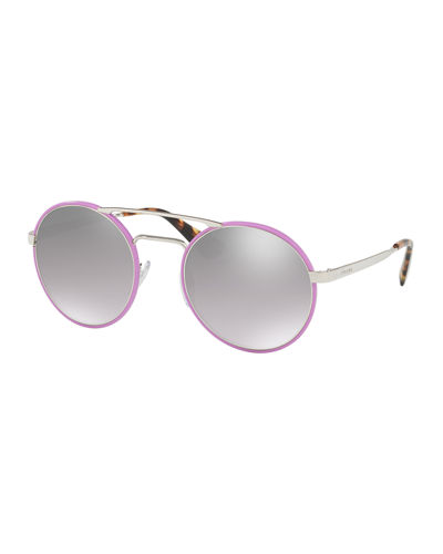 Mirrored Round Brow-Bar Sunglasses