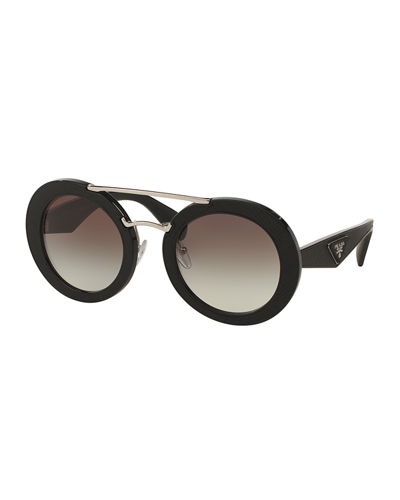 Round Acetate Brow-Bar Sunglasses