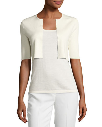Superfine Ribbed Elbow-Sleeve Shrug