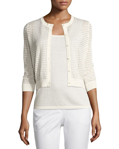 3/4-Sleeve Mesh-Stitch Button-Front Shrug