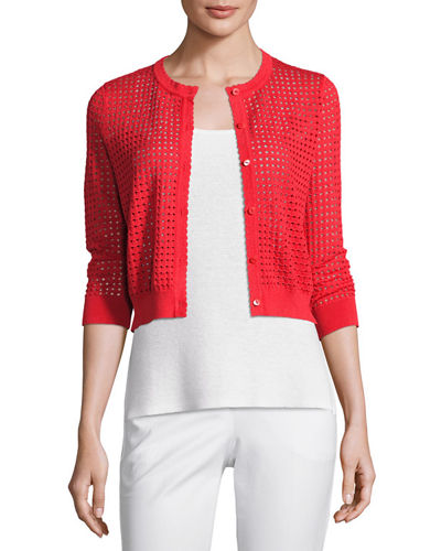 Neiman Marcus Cashmere Collection 3/4-Sleeve Mesh-Stitch