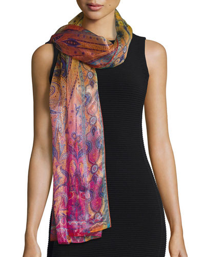 Dhely Metallic Paisley Ombre Scarf