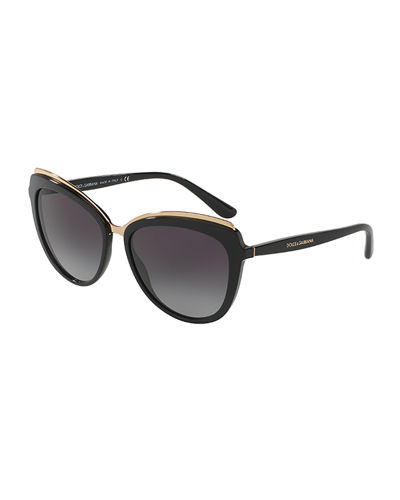 Metal-Trim Gradient Cat-Eye Sunglasses