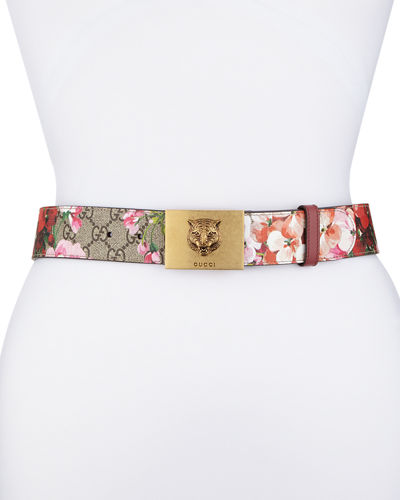 Gucci GG Supreme Blooms Belt w/ Tiger Buckle