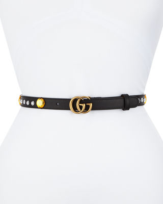 GUCCI Crystal Belt With Double G Buckle in Red