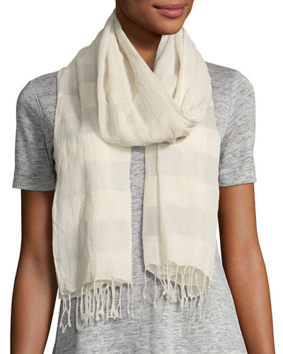 Eileen Fisher Striped Organic Cotton/Silk Wrap