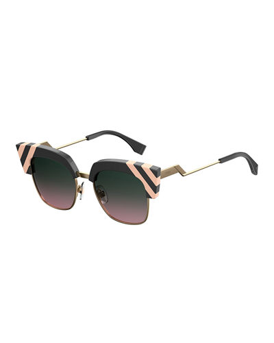 Semi-Rimless Squared Cat-Eye Sunglasses