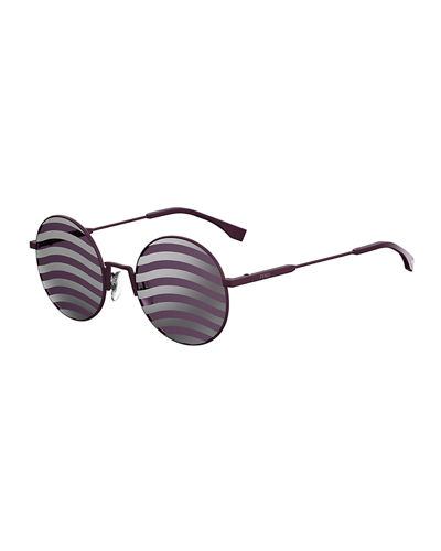 Waved Stripe Round Sunglasses