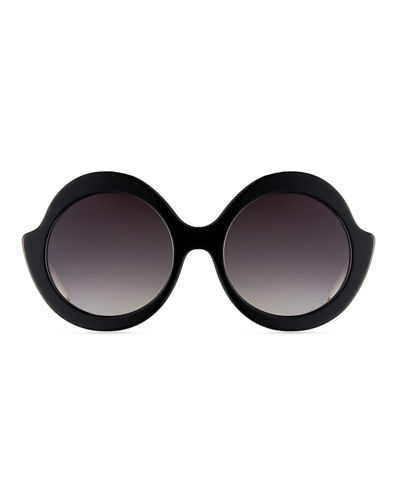 Stacey Notched Round Sunglasses