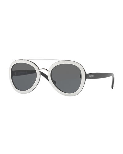 Rocker Double-Bridge Plastic Sunglasses
