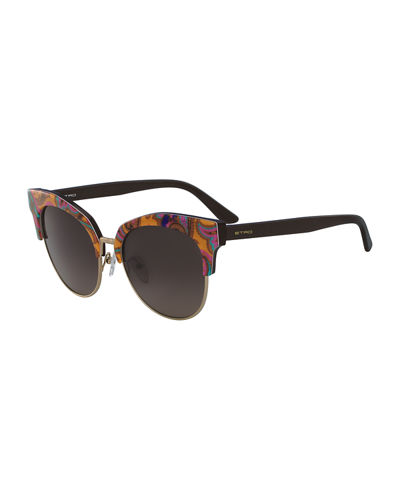 Etro Semi-Rimless Paisley Cat-Eye Sunglasses