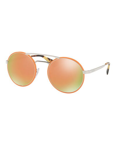 Trimmed Iridescent Round Sunglasses