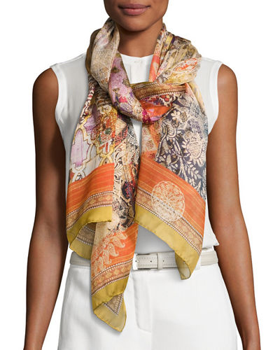 Oro Silk Satin Patchwork Scarf