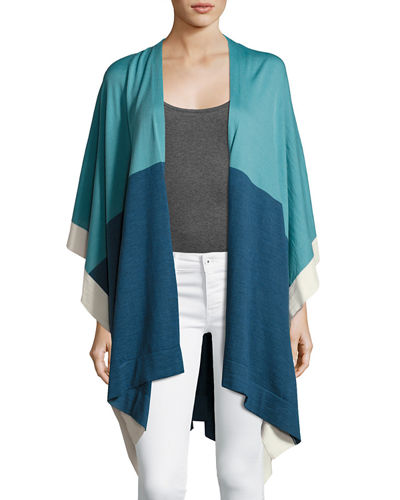 Lightweight Wool Colorblock Poncho