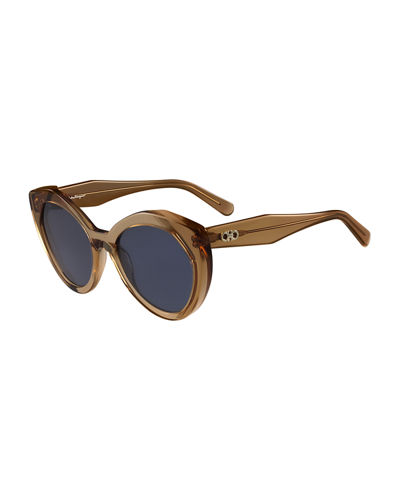 Cat-Eye Faceted Gancini Sunglasses