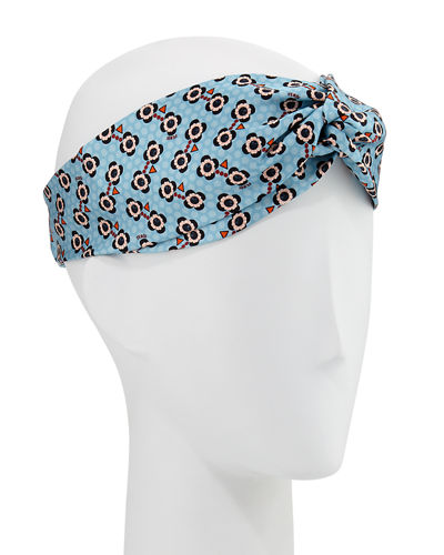 Flower-Print Silk Headband