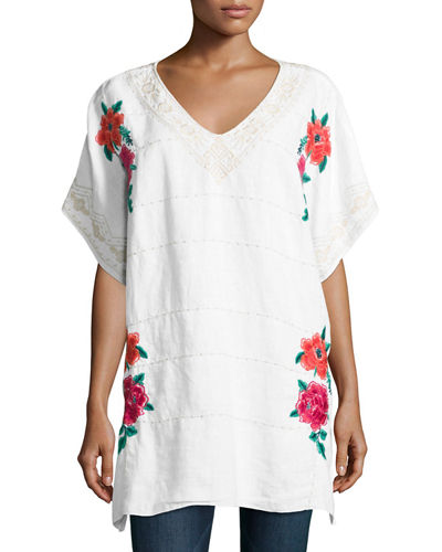 Selena Embroidered Linen Poncho Top, Plus Size