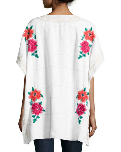 Selena Embroidered Linen Poncho Top