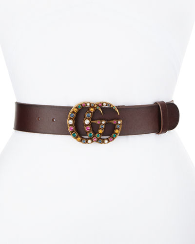Gucci Leather Belt w/ Crystal Double G Buckle
