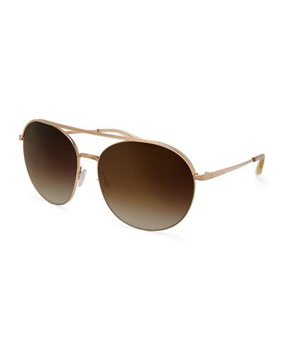 Luna Round Mirrored Sunglasses w/Brow Bar
