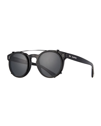 Round Crystal-Rim Sunglasses