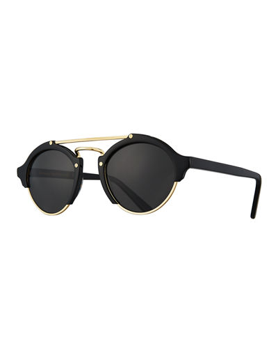 Illesteva Milan II Semi-Rimless Round Polarized Sunglasses