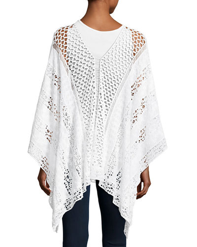 Lace Embroidered Voile Poncho