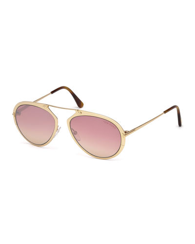 Dashel Brow-Bar Aviator Sunglasses