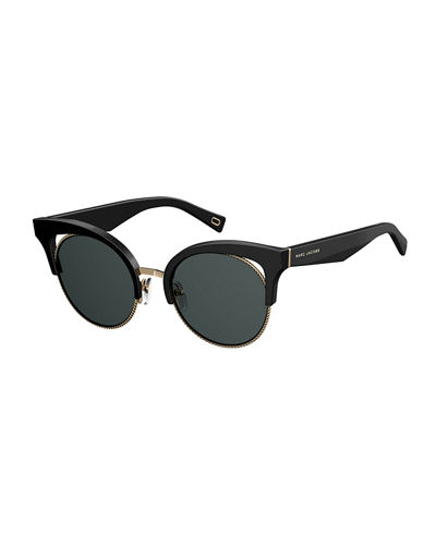 Open-Inset Monochromatic Cat-Eye Sunglasses