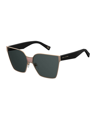 Faceted Oversized Square Sunglasses