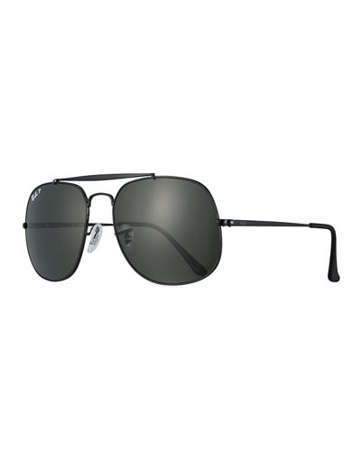 Ray-Ban The General Polarized Aviator Sunglasses, Black