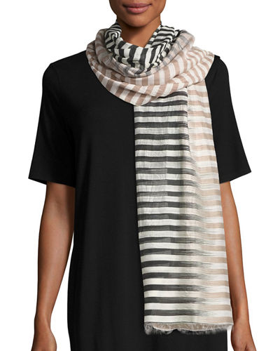 Hand-Loomed Organic Cotton/Silk Stripe Scarf