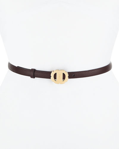 Vara Flower Buckle Reversible Pebbled Leather Belt