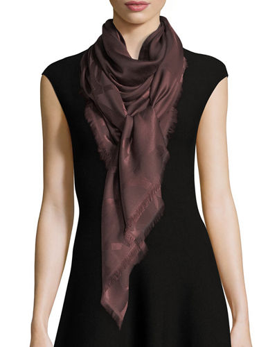 Gancio Silk-Wool Square Scarf