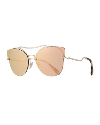 MIU MIU Scenique Rimless Monochromatic Brow-Bar Sunglasses, Light Gold, Light Yellow in Pale Gold/Rose Gold